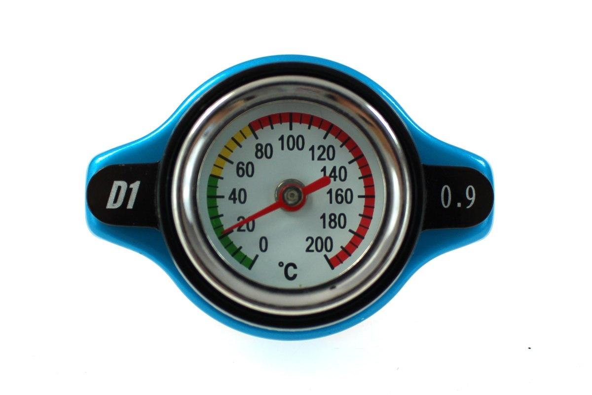 Korek wlewu chłodnicy z termometrem D1Spec 15mm Blue 0.9Bar - GRUBYGARAGE - Sklep Tuningowy